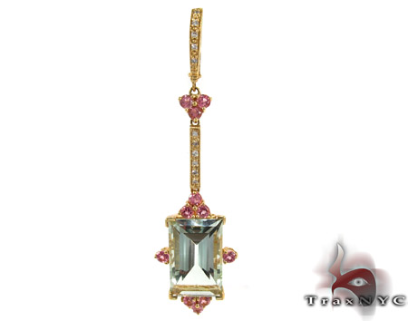Yellow Gold Amethyst & Tourmaline Diamond Pendant 27839 Stone