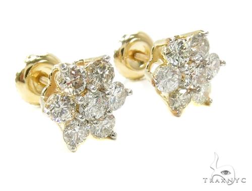 Yellow Gold Medium Flower Cluster Earrings Stone