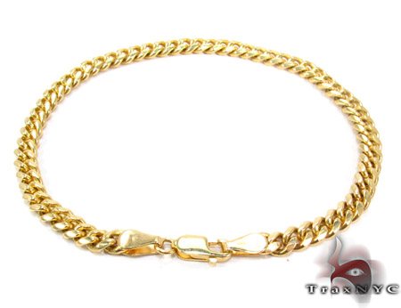 Yellow Gold Miami Bracelet 9 Inches 4mm 14.7 Grams Gold