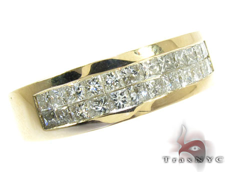 Yellow Gold Princess Band Stone