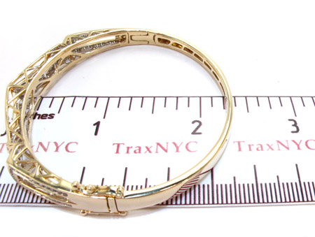 Yellow Gold Princess Round Cut Invisible Channel Diamond Bangle Bracelet Bangle