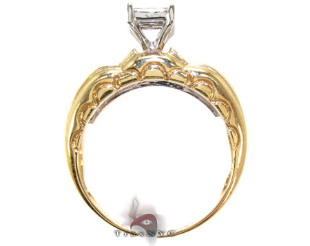 Yellow Gold Princess Round Cut Invisible Channel Diamond Ring Engagement