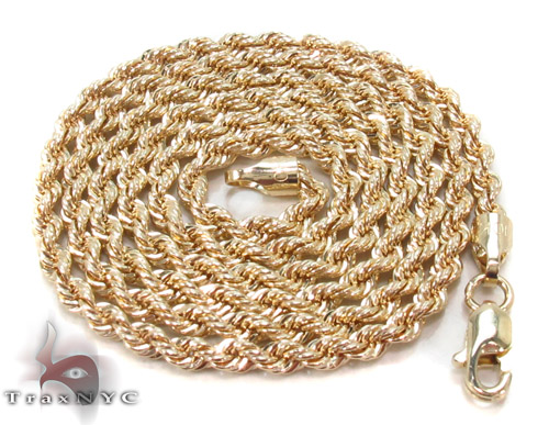 Yellow Gold Rope Chain 16 Inches 2mm 2.5Grams Gold