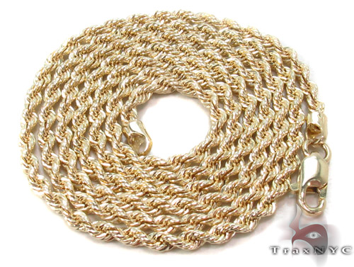 Yellow Gold Rope Chain 18 Inches 2mm 2.1 Grams Gold