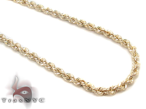 Yellow Gold Rope Chain 22 Inches 3mm 3.2Grams Gold