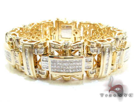 Yellow Gold Round Baguette Princess Cut Invisible Channel Diamond Bracelet 13.30 ct