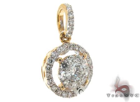 Yellow Gold Round Cut Bezel Prong Diamond Pendant Stone