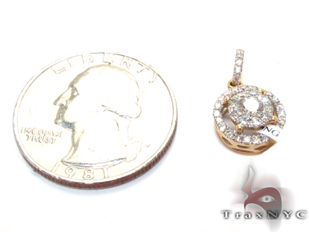 Yellow Gold Round Cut Bezel Prong Diamond Pendant Stone
