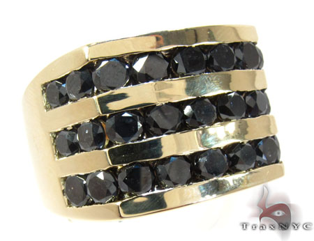Yellow Gold Round Cut Channel 3 Row Black Diamond Ring