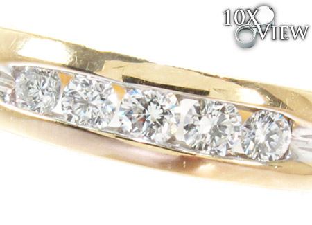 Yellow Gold Round Cut Channel Diamond Anniversary Ring Wedding