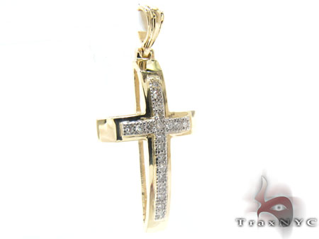 Yellow Gold Round Cut Micro Pave Diamond Cross Diamond