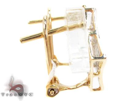 Yellow Gold Round Cut Micro Pave Diamond Earrings Stone