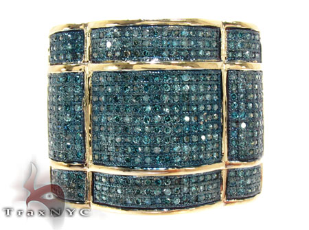 Yellow Gold Round Cut Micro Pave Diamond Ring Stone
