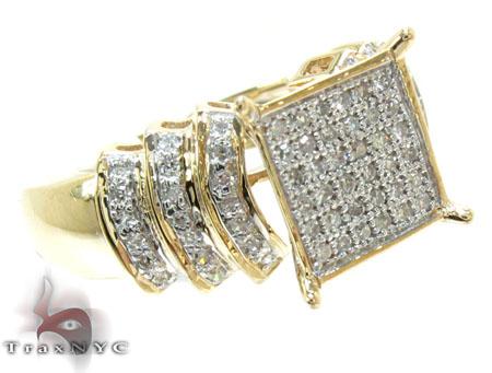 Yellow Gold Round Cut Micro Pave Diamond Ring Engagement