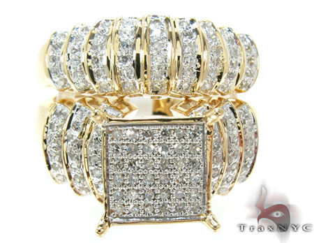 Yellow Gold Round Cut Micro Pave Diamond Ring Set Engagement
