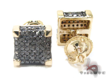 Yellow Gold Round Cut Pave Black Diamond Earrings Stone
