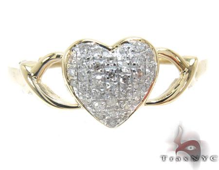 10K Yellow Gold Diamond Heart Ring Anniversary/Fashion