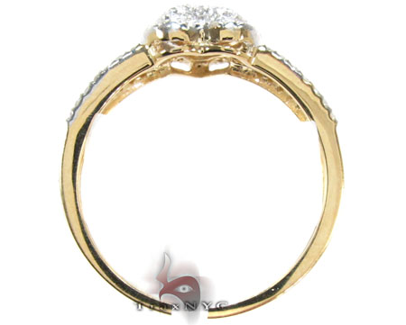 Yellow Gold Round Cut Pave Prong Diamond Heart Ring Anniversary/Fashion