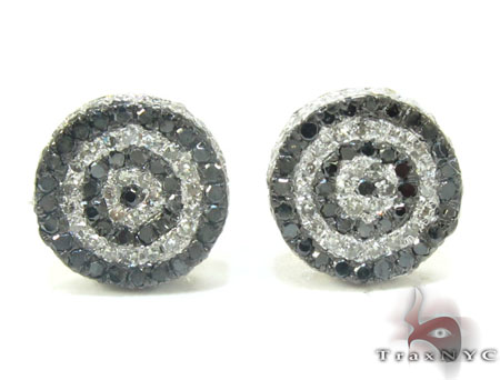 Yellow Gold Round Cut Prong Black White Diamond Earrings Stone