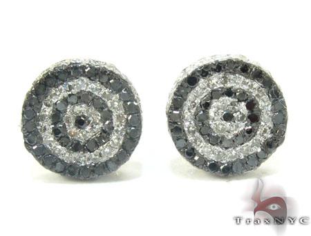 Yellow Gold Round Cut Prong Black White Diamond Earrings Stone
