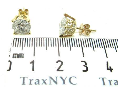 Yellow Gold Round Cut Prong Diamond Earrings Style