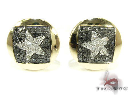 Yellow Gold Round Cut Prong Diamond Star Earrings 25234 Stone