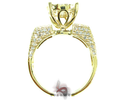 Yellow Gold Round Cut Prong Diamond Wedding Ring Set Engagement