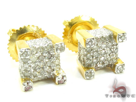 Silver Square Round Cut Prong Diamond Earrings Metal