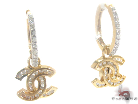 Yellow Gold Channel Cut Earrings 27385 Stone