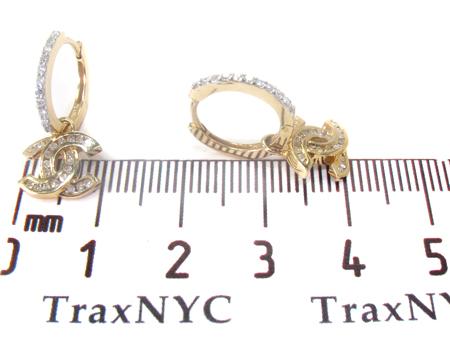 Yellow Gold Channel Cut Earrings 27385 Stone