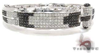 White Gold Round Cut Prong Black Diamond Bracelet Diamond Bangle Bracelets