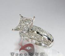 14K White Gold  & Diamond Pave Edge Ring Womens Diamond Rings