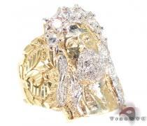 XL Jesus Head Ring Mens Gold Rings