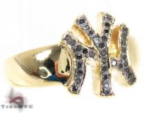 YG Black Diamond Yankees Ring Mens Diamond Rings