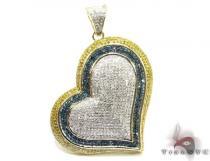 Tri- Pave Heart Pendant Stone