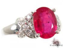 Ruby Criss Cross Crucifix Ring ジェムストーン ダイヤモンド リング