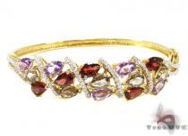 Ladies Floral Bracelet Gemstone & Pearl