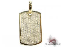 YG Pave XL Dog Tag Diamond Pendants