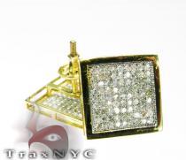 3D Square Studs Mens Diamond Earrings