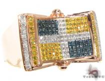 RG Canary and Blue Quadrant Ring Mens Diamond Rings