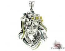 Tri-Color Jesus Pendant Diamond Pendants