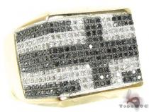 YG Flat Cross Ring Stone