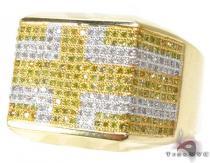 YG Canary Flat Cross Ring Mens Diamond Rings