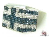 Hip Hop Jewelry - Blue & White Pave Ring Mens Diamond Rings