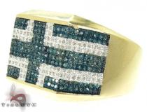 YG Blue & White Pave Ring Mens Diamond Rings