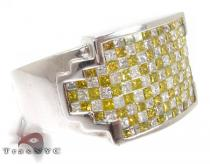 Canary Checkered Ring Mens Diamond Rings