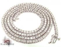 White Gold Diamond Chain 30 Inches, 3mm, 45 Grams ダイヤモンド チェーン