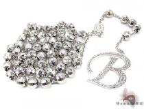 Custom B Initial Rosary Chain Diamond Gold Rosary Chains