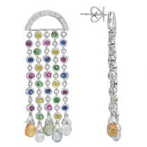White Gold Multicolor Gemstone & Diamond Chandelier Earrings Stone