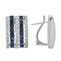 Deep Blue Sapphire & Diamond Earrings in White Gold Stone